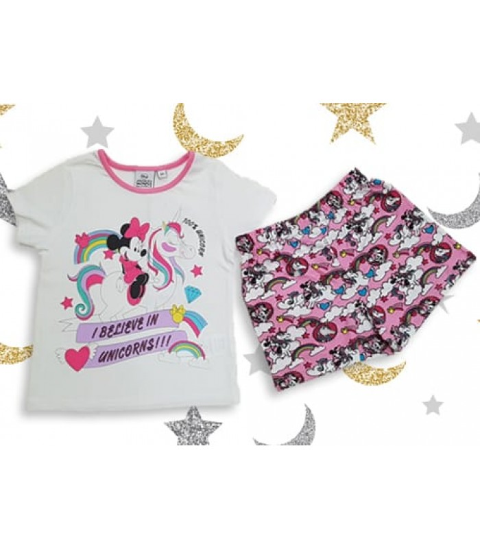 Pijama maneca scurta Minnie Mouse 3-8ani