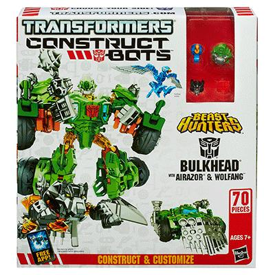 Transformers Constuct Bots Beast Hunters 3 in 1 Bulkhead, Airazor, Wolfang